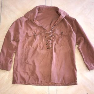 Tops - Lace up suede/velvet top